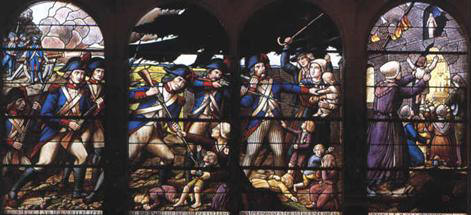 Massacre of the Children of Petit-Luc (stained glass window of the Church of Saint-Pierre of Lucs-sur-Boulogne by Lux Fournier)